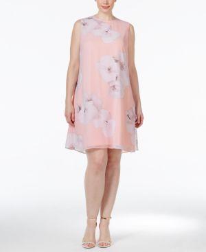 Calvin Klein Plus Size Floral-Print Shift Dress