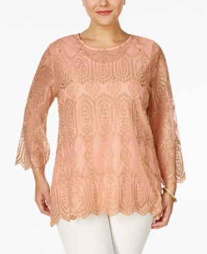 1920s Style Blouses American Rag Trendy Plus Size Embroidered Blouse Only at Macys $34.99 AT vintagedancer.com