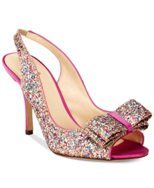 kate spade new york Charm Multicolor Glitter Open-Toe Pumps Women's Shoes
