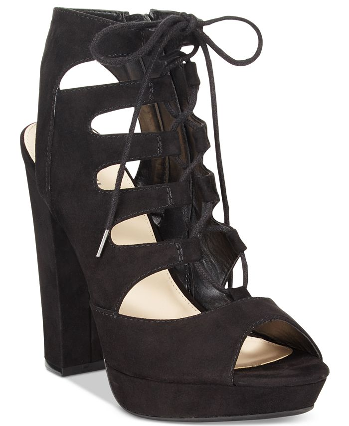 Bar III - Nelly Lace-Up Block-Heel Pumps