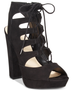 Bar Iii Nelly Lace-Up Block-Heel Platform Sandals, Only at Macy's Women's Shoes