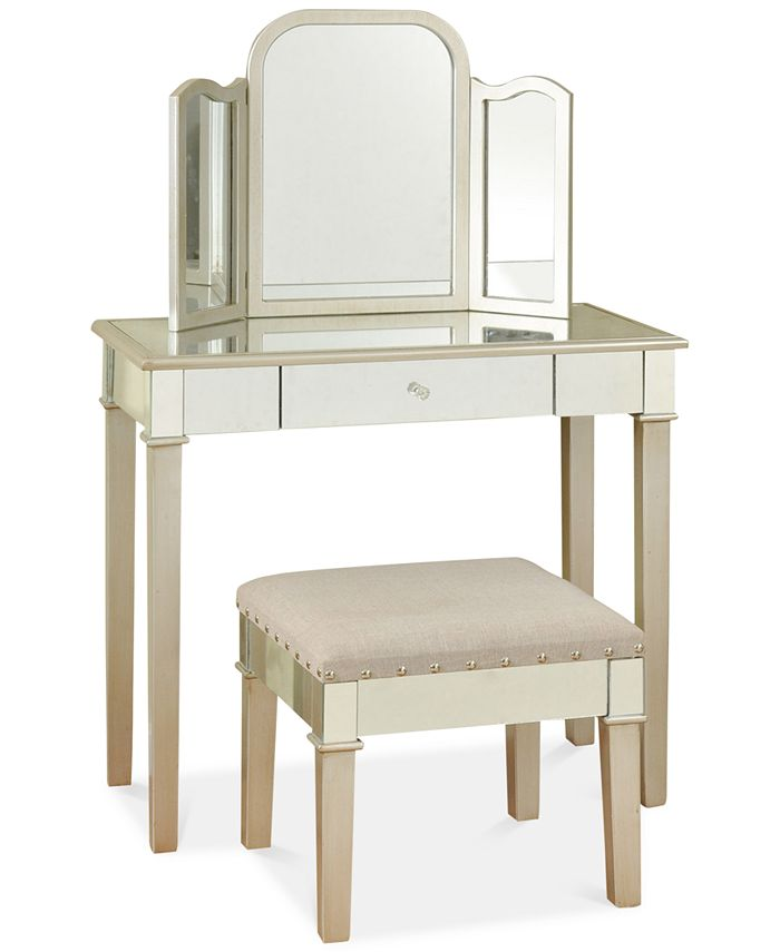 StyleCraft - Morgen Makeup Vanity with Trifold Mirror, Direct Ship