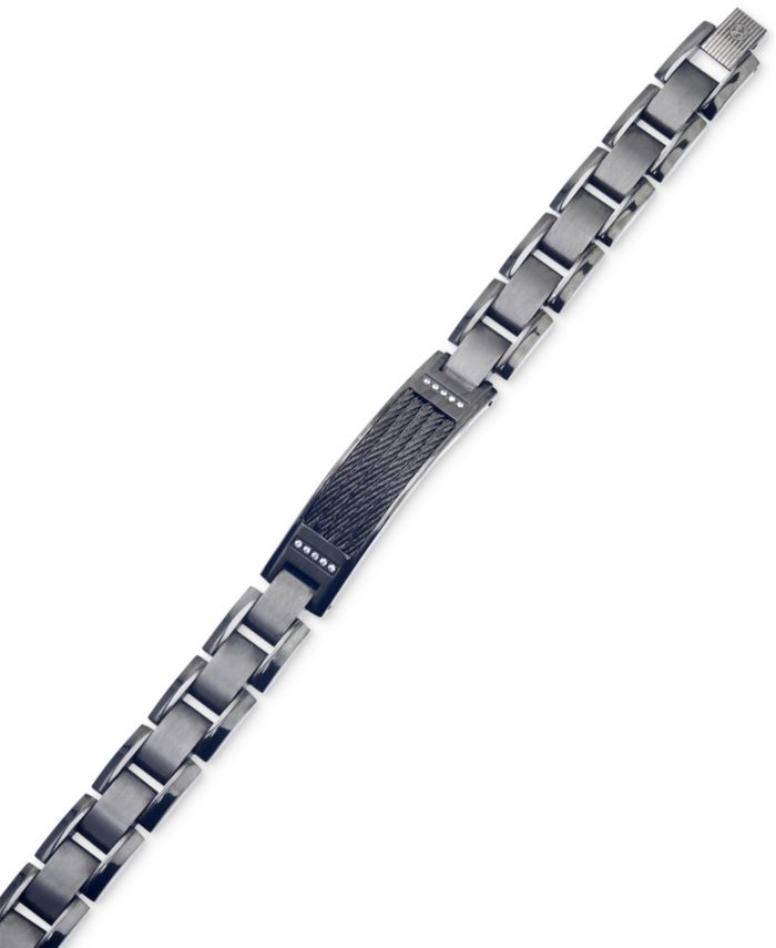 Esquire Men's Jewelry Diamond Accent ID Bracelet in Gunmetal and Black IP over Stainless Steel, Created for Macy's & Reviews - Bracelets - Jewelry & Watches - Macy's