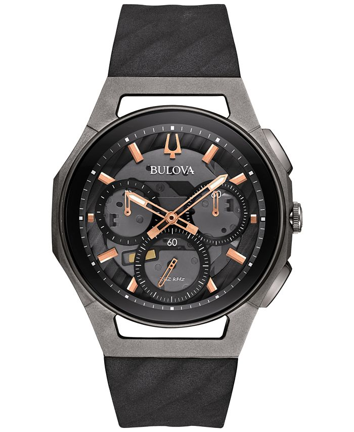 Bulova - Men's Chronograph Curv Black Rubber Strap Watch 44mm 98A162