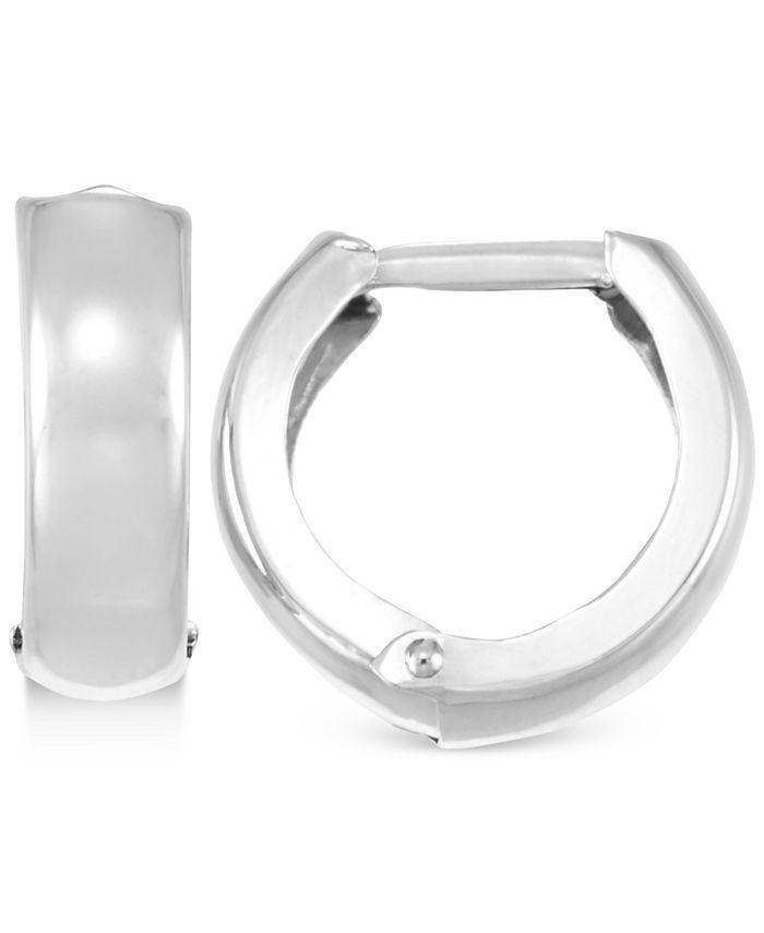 Macy's - Polished Wide Huggy Hoop Earrings in 10k White Gold
