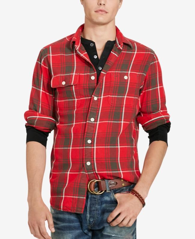 Polo Ralph Lauren Men's Indigo Plaid Workshirt Shirt | Top and Clothing