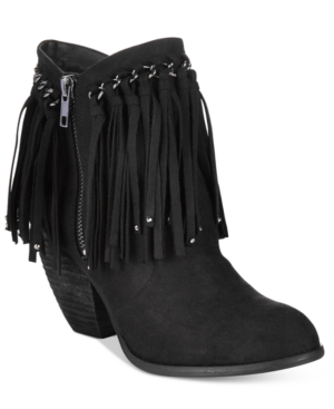 Not Rated Aadila Block Heel Fringe Ankle Booties Women's Shoes