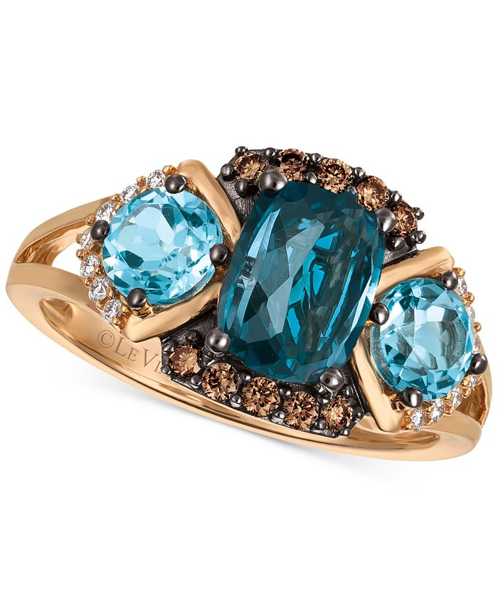 Le Vian - Blue Topaz (2-5/8 ct. t.w.) and Diamond (1/5 ct. t.w.) Ring in 14k Rose Gold