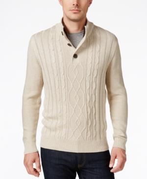 Men's Vintage Style Sweaters – 1920s to 1960s Tricots St. Raphael Mens Faux Sherpa Trim Cable-Knit Mock Neck Sweater $49.99 AT vintagedancer.com