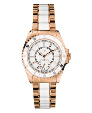 GUESS Collection Women's White Ceramic and Rose Gold-Plated Bracelet Watch