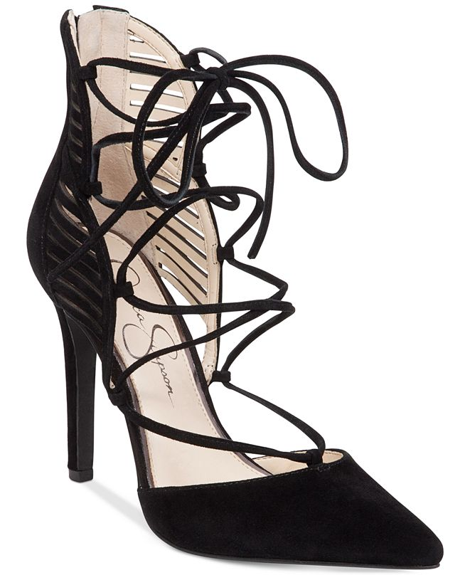 Jessica Simpson Cynessa Lace-Up Pointy-Toe Pumps