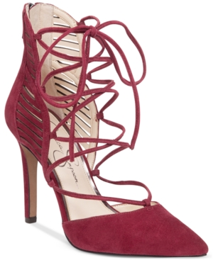 Jessica Simpson Cynessa Lace-Up Pointy-Toe Pumps Women's Shoes