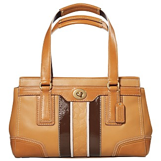 Macy*s -   COACH - 								COACH HAMPTONS LEATHER EMBOSSED SIGNATURE STRIPE MEDIUM CARRYALL