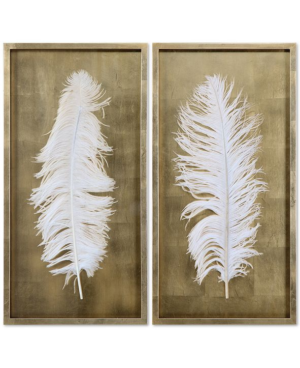 Uttermost White Feathers 2-Pc. Shadow Box Wall Art