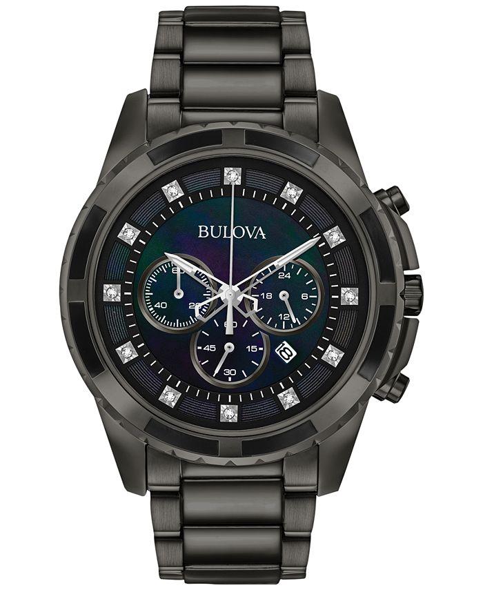 Bulova - Men's Chronograph Diamond Accent Dark Gray Stainless Steel Bracelet Watch 44mm 98D133
