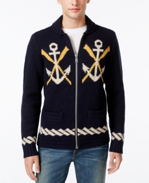 Men's Vintage Style Sweaters – 1920s to 1960s Tommy Hilfiger Mens Naval-Themed Zip-Front Cardigan $299.00 AT vintagedancer.com