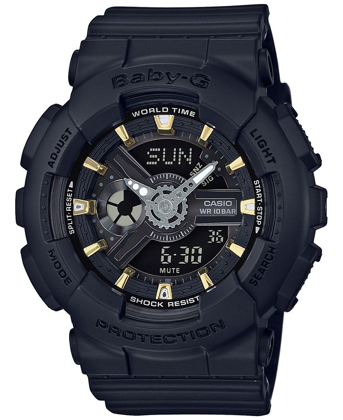 G-Shock - Women's Analog-Digital Black Resin Strap Watch 43x46mm BA110GA-1A
