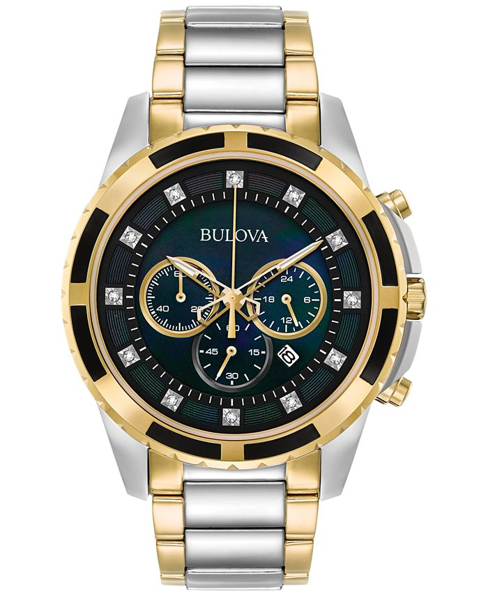 Bulova - Men's Chronograph Diamond Accent Two-Tone Stainless Steel Bracelet Watch 44mm 98D132