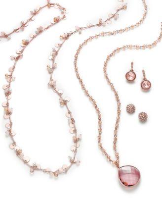 Rose Gold-Tone Long Shaky Bead Necklace