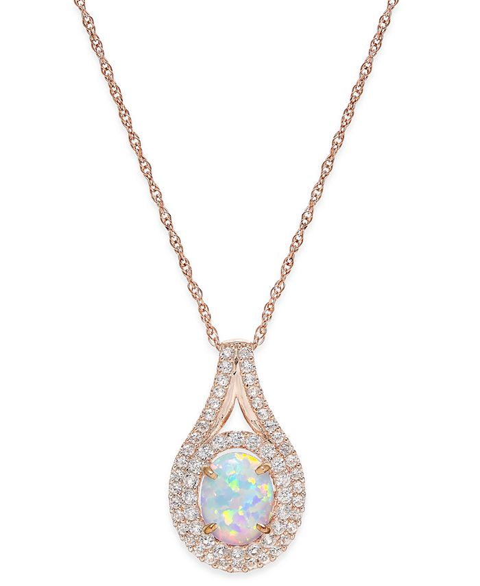 Macy's - Lab-Created Opal (1 ct. t.w.) and White Sapphire (3/4 ct. t.w.) Pendant Necklace in 14k Rose Gold-Plated Sterling Silver