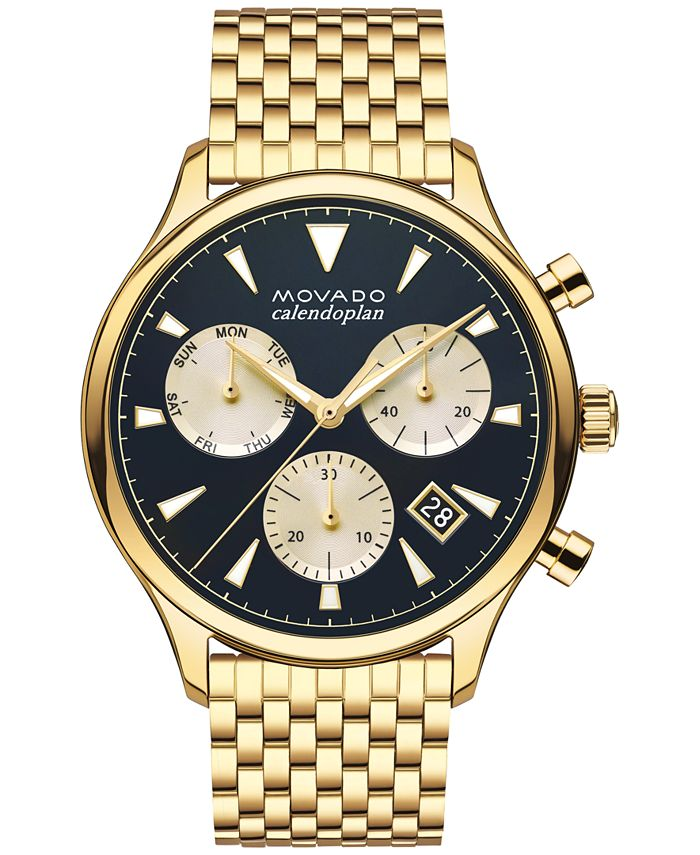 Movado - Men's Swiss Chronograph Heritage Gold-Tone Stainless Steel Bracelet Watch 43mm 3650015