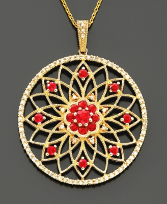 14k Gold Ruby (1-1/8 ct. t.w.) & Diamond (3/8 ct. t.w.) Flower Medallion Pendant - Star Pendant Necklace