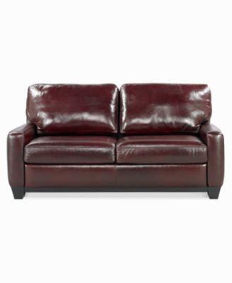 """Lear Leather Sofa Bed Full Sleeper 75""""W x 40""""D x 32""""H Furniture Macy s"""