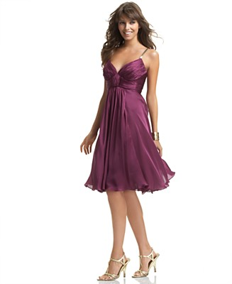 Anne Klein Satin V-Neck Dress with Gold Straps - Dresses - Women's - Macy's from macys.com
