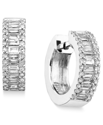 14k White Gold Diamond Hoop Earrings (3/4 ct. t.w.)