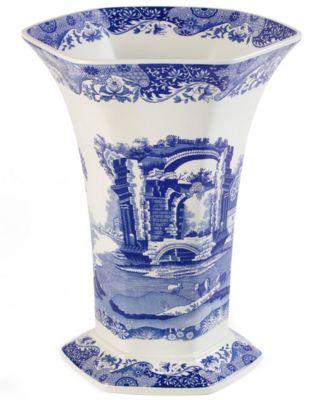 Spode Dinnerware, Blue Italian Hexagonal Vase