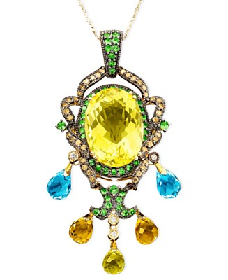 Le Vian 14k Gold Multistone Pendant - Blue Topaz Semi-Precious Gemstones - Jewelry & Watches - Macy's :  diamonds tsavorite briolette brown