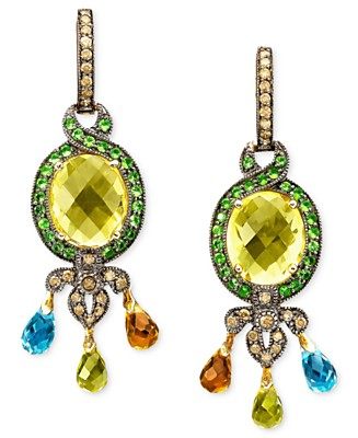 Le Vian 14k Gold Multistone Earrings - Citrine Semi-Precious Gemstones - Jewelry & Watches - Macy's :  diamonds briolette brown earrings