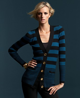 INC International Concepts® Striped Deep-V Cardigan Sweater - Sweaters INC International Concepts - Women's - Macy's from macys.com