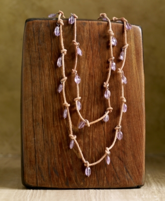 Rwanda Amethyst Long Knotted Strand Necklace - Statement Necklace