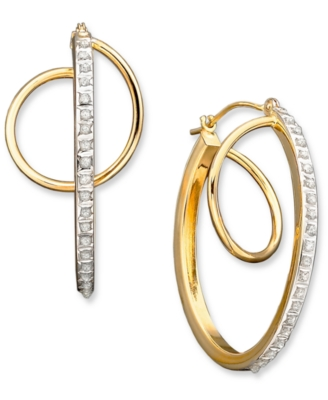 14k Gold Diamond Accent Orbit Hoop Earrings