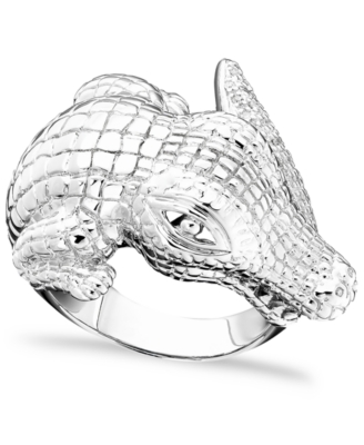 Sterling Silver Diamond Crocodile Ring (1/5 ct. t.w.)