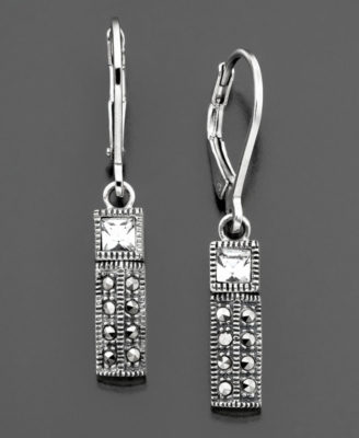 Judith Jack Sterling Silver & Marcasite Crystal Earrings