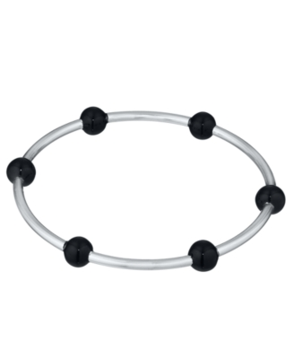 L'una Sterling Silver Extra-Large Six Bead Black Enamel Bangle Bracelet