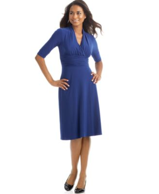 Weu0027re Loving This Simple Blue Dress From Evan Picone, Available At Macyu0027s.  Love The Longer Sleeves, The Crossover Neckline, The A Line Skirt U2014 And  That ...