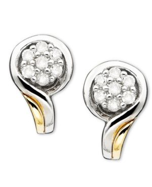 14k Gold & Sterling Silver Diamond Accent Earrings