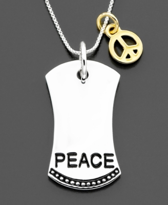 Sterling Silver Peace Dog Tag Pendant - Macy's