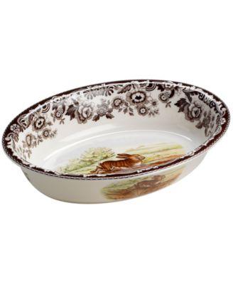 "Spode ""Woodland"" Rabbit Oval Rim Dish"