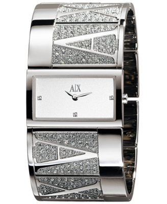 AX Armani Exchange Watch, Women's Crystal Accented Stainless Steel Bracelet AX4021