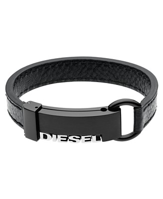 Diesel Black Leather Cuff Bracelet - Bracelets Fashion Jewelry - Jewelry & Watches  - Macy's :  bracelet accessory macys cuff