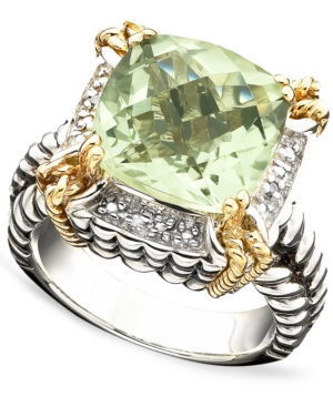 14k Gold and Sterling Silver Ring, Green Quartz (6-1/3 ct. t.w.) and Diamond Accent