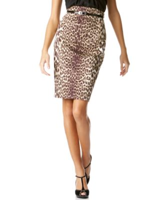 T Tahari Leopard-Print Pencil Skirt