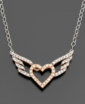 14k Two-Tone Gold Diamond Heart Pendant (1/5 ct. t.w.)