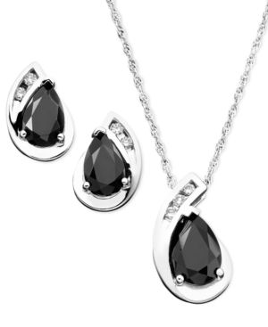 Sterling Silver Onyx & Diamond (1/8 ct. t.w.) Pendant & Earring Set