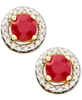 14k Gold Ruby (5/8 ct. t.w.) & Diamond (1/10 ct. t.w.) Earrings