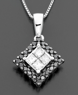 14k White Gold Black & White Diamond Square Pendant (1/3 ct. t.w.)